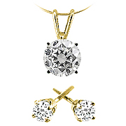 14k Yellow Gold 3/4 cttw Diamond Pendant and Stud Earrings