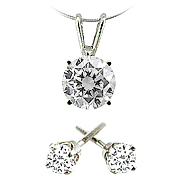 14k White Gold 1.00 cttw Diamond Pendant and Stud Earrings
