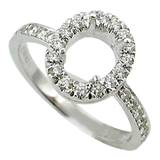18K White Gold 0.36cttw Diamond Setting