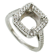 18K White Gold 0.35cttw Diamond Setting