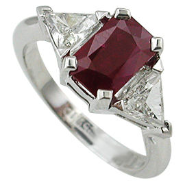 18K White Gold Three Stone Ring : 2.00 cttw Ruby & Diamonds