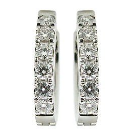 18K White Gold Hoop Earrings : 0.36 cttw Diamonds