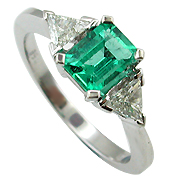 18K White Gold 1.15cttw Emerald & Diamond Ring