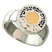 "14K White Gold Kabbalah Ring ""5 Elements Metals"""