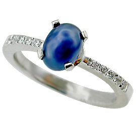 14K White Gold Multi Stone Ring : 1.10 cttw Sapphire & Diamonds