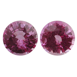 2.45 cttw Pair of Round Sapphires : Pink