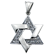 14K White Gold 0.23cttw Diamond Star of David Pendant