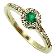 14K Yellow Gold 0.28cttw Emerald & Diamond Ring