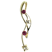 14K Yellow Gold 0.28cttw Diamond & Ruby Pendant