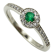 14K White Gold 0.28cttw Emerald & Diamond Ring