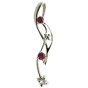 14K White Gold 0.28cttw Diamond & Ruby Pendant