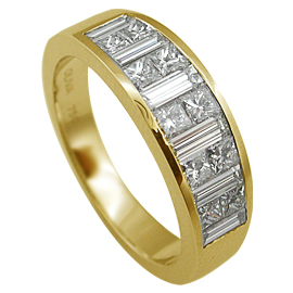 18K Yellow Gold Band : 1.35 cttw Diamonds