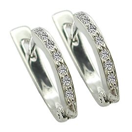 14K White Gold Hoop Earrings : 0.14 cttw Diamonds