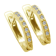 14K Yellow Gold 0.14cttw Diamond Earrings