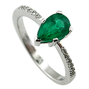 18K White Gold 1.10cttw Emerald & Diamond Ring