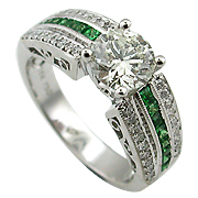 18K White Gold 1.85cttw Diamond & Tourmaline Ring