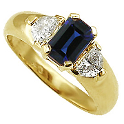 18K Yellow Gold 1.50cttw Sapphire & Diamond Ring