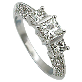 18K White Gold Multi Stone Ring : 1.20 cttw Diamonds