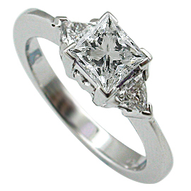 18K White Gold Three Stone Ring : 1.00 cttw Diamonds