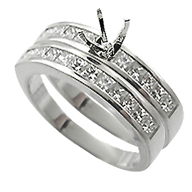 18K White Gold Wedding Band Set : 1.00 cttw Diamonds