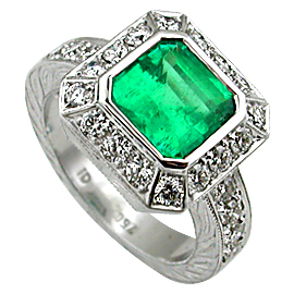 18K White Gold Multi Stone Ring : 3.00 cttw Emerald & Diamonds