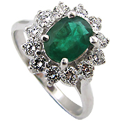 18K White Gold 1.50cttw Emerald & Diamond Ring