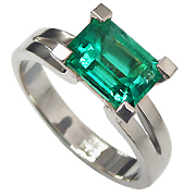 18K White Gold 1.50ct Emerald Ring