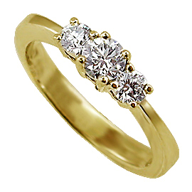 18K Yellow Gold Three Stone Ring : 0.50 cttw Diamonds