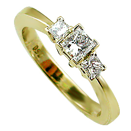 14K Yellow Gold Three Stone Ring : 0.50 cttw Diamonds