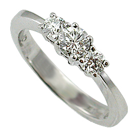 14K White Gold Three Stone Ring : 0.50 cttw Diamonds
