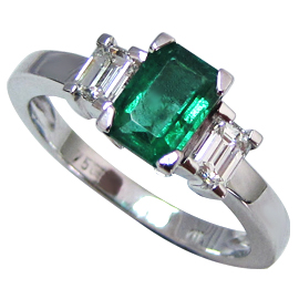 18K White Gold Three Stone Ring : 1.15 cttw Emerald & Diamonds
