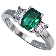 Platinum 1.15cttw Emerald & Diamond Ring