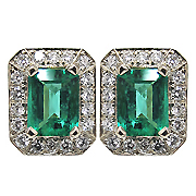 18K White Gold Designer 2.60cttw Emerald & Diamond Earrings