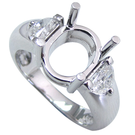 18K White Gold Three Stone Setting : 1.00 cttw Diamonds