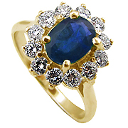 14K Yellow Gold 2.00cttw Sapphire & Diamond Ring