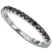 18K White Gold 0.20cttw Black Diamond Color Enhanced Band