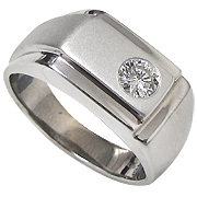 18K White Gold 0.40ct Diamond Men's Ring
