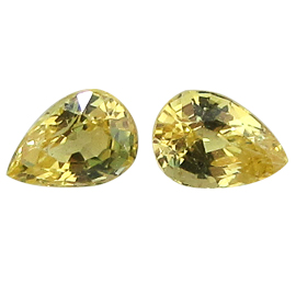 0.65 cttw Pair of Heart Shape Yellow Sapphires : Lemon Yellow