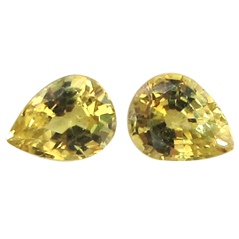 0.72 cttw Pair of Pear Shape Yellow Sapphires : Lemon Yellow