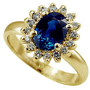 14K Yellow Gold 1.16cttw Sapphire & Diamond Ring