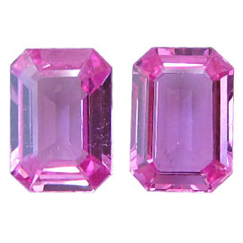 1.73 cttw Pair of Emerald Cut Pink Sapphires : Fine Pink