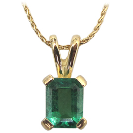 18K Yellow Gold Solitaire Pendant : 0.70 cttw Emerald