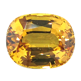 5.18 ct Cushion Cut Yellow Sapphire : Golden Yellow