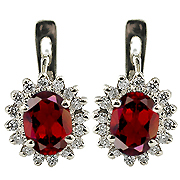 14K White Gold 2.32cttw Ruby & Diamond Earrings