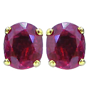14K Yellow Gold 0.75cttw Ruby Earrings