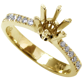 18K Yellow Gold Multi Stone Setting : 0.12 cttw Diamonds