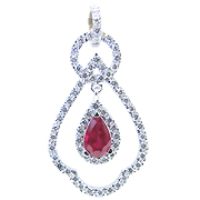 18K White Gold 2.00cttw Ruby & Diamond Pendant