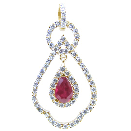18K Yellow Gold Drop Pendant : 2.00 cttw Ruby & Diamonds