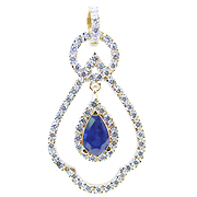 18K Yellow Gold 2.00cttw Blue Sapphire & Diamond Pendant