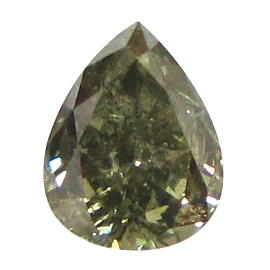 0.58 ct Pear Shape Diamond : Fancy Dark Gray Yellowish Green / I1